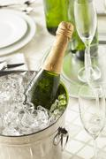 alcoholic bubbly champagne for new years - stock photo