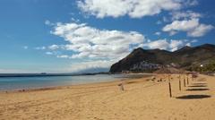 Beach Las Teresitas, Tenerife, Canary islands. Panning shot. Stock Footage