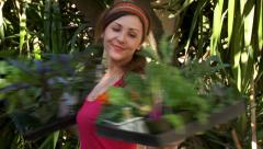 Gardening Happy Woman Spinning with Vegetables - stock footage