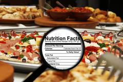Stock Illustration of magnifying glass on nutrition facts