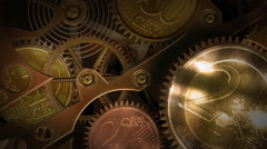 Clock with coins in place of gears. Time is money. Stock Footage