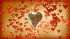 true love - a large diamond heart among small red hearts - stock footage