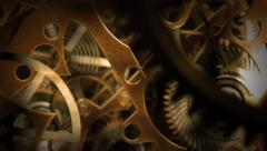 Inside a clock, infinite zoom into the clockwork mechanism. A 3d animation. - stock footage