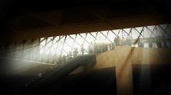 Light rays hit people on escalator film noir TL 4K Arkistovideo