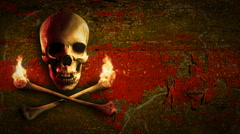 Skull and bones on a grunge background. Left comp. Pirate flag. Loop. Stock Footage