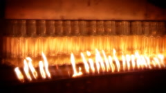 Glass factory. Automated production line. Furnace. Recycling. Clip A. Stock Footage