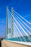 bridge of an industry park in beautiful landscape near frankfurt - stock photo