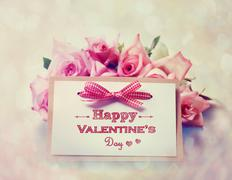 Handmade valentines day card with roses Stock Photos