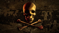 Skull and bones on old wood background. Pirate flag symbol. Stock Footage