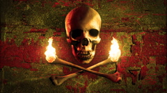 Skull and torches made of bones on a grunge background. Pirate flag. Loop. Stock Footage