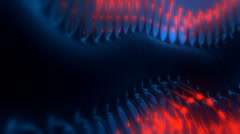 Strange organic crawling black shape with red  glowing spikes. Looping. Stock Footage