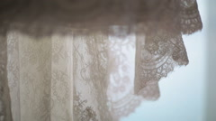 Lace wedding dress close up Stock Footage