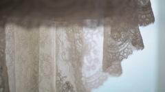 Lace wedding dress close up Stock Footage