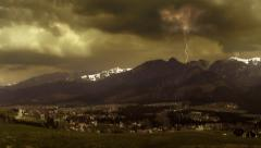 Stock Video Footage of Storm and lightning. Thunderstorm in the Tatra Mountains. Dramatic sky. Clip1.