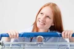 Smiling supermarket customer Stock Photos