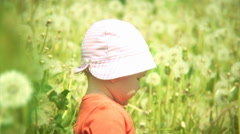 Baby playing in a meadow full of dandelions. Stock Footage