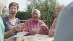 4K Happy group of senior friends playing cards in the garden with cups of tea - stock footage