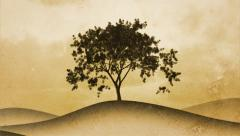 Timelapse of a growing tree on sepia graphical background. Side composition. - stock footage