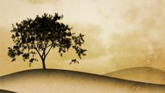 Timelapse of a growing tree on sepia graphical background. Central composition. Stock Footage