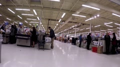 One side of self-check out counter inside superstore. Stock Footage