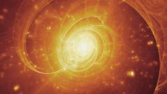 Big bang, beginnings of the universe. Fractal background. Yellow-red version. Stock Footage