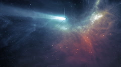 Spaceship travelling through the universe at the warp speed. - stock footage