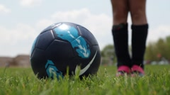 Ball Kick At Low Angle Stock Footage