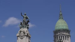 Statue and dome of the Argentine Congress Timelapse Stock Footage