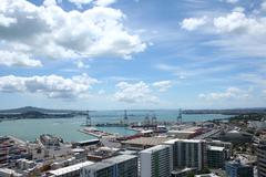 auckland port - stock photo