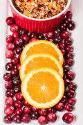 overhead of cranberry relish with cranberries - stock photo