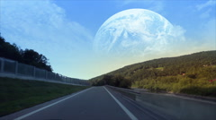 Another earth visible on the horizon. Stock Footage