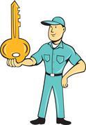 Locksmith balancing key palm cartoon Stock Illustration
