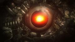 Robot eye opens, looks around. Stock Footage