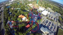 Busch gardens rollercoasters 4k video 2 Stock Footage