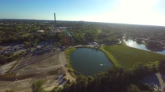 Busch gardens theme park aerial 4k video Stock Footage