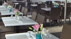 Tables set for lunch 4k video Stock Footage