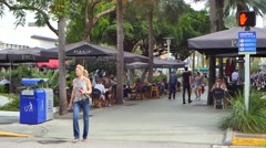 People dining on lincoln road miami beach 4k video Stock Footage