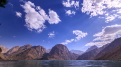 Lake in the mountains. Zoom. Iskander-Kul. TimeLapse. 1280x720 Stock Footage