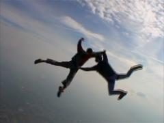 Sky B.A.S.E jump, skydiving. Stock Footage