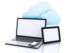 3d illustration. laptop pc, tablet and smartphone. cloud computing concept - stock illustration