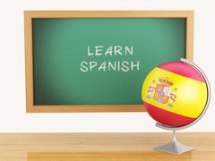 3d illustration. school education concept. blackboard with learn spanish text - stock illustration