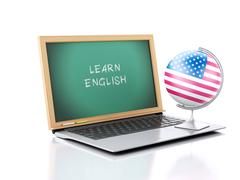 Laptop with chalkboard. learn english concept. 3d illustration Stock Illustration