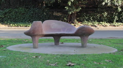 Park with Mid Century Modern Bench Stock Footage