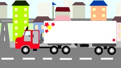 Big truck moving through the city, animation, cartoon Stock Footage