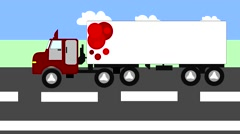 Big truck moving on the highway, animation, cartoon Stock Footage