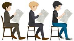 Faceless men reading Stock Illustration