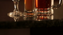 Three various types of craft beer Stock Footage