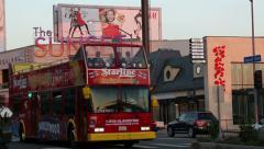 Hollywood Sunset Blvd Tourist Bus - stock footage