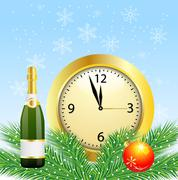 christmas postal with the bottle of champagne and clock - stock illustration