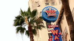 Hollywood Wax Museum Sign Stock Footage